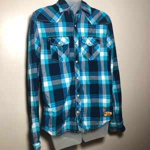 Medium AEROPOSTALE Blue White Plaid Button Up Top